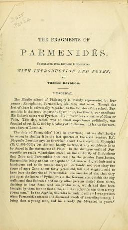 Parmenides- doğa hakkında