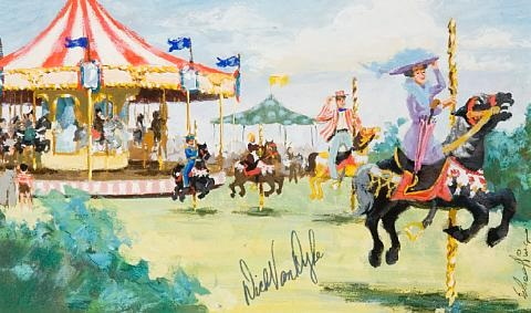 jim-schaeffing-julie-andrews-as-mary-poppins-on-a-carousel-horse,-riding-away-from-the-carousel,-from-the-jolly