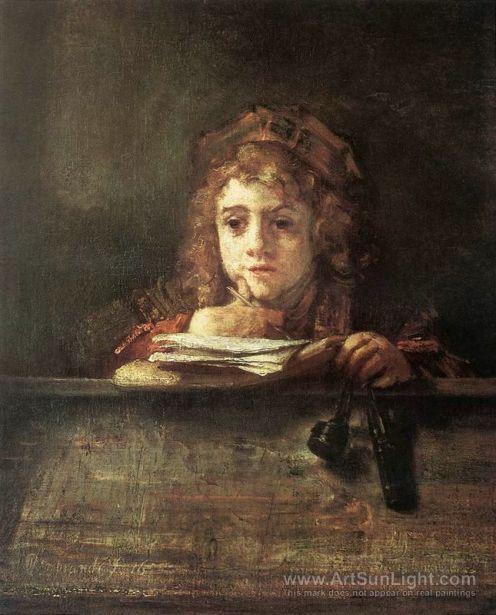 the-artist-s-son-titus-at-his-desk-by-Rembrandt-van-Rijn-092