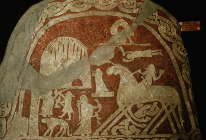 Detail of 8th Century Viking Stele Depicting Odin and Sleipnir